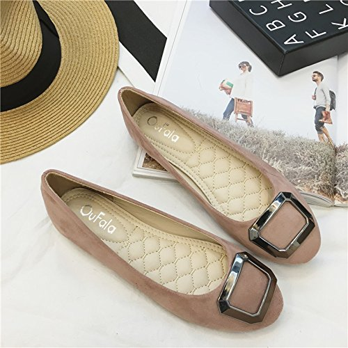 YFF The new side button female single shoes comfortable flat flat flat flat heel shoes shallow mouth with the women's shoes... B072XFHB8P Parent a1bc37