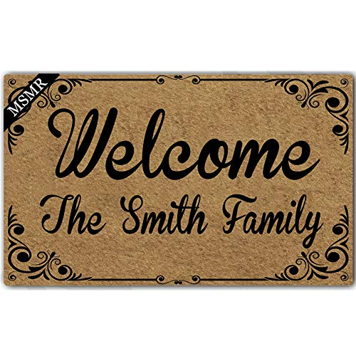 MsMr Custom Doormat Welcome Mat Home Decorative Indoor Outdoor Entrance Floor Mat Rubber Non-Slip Welcome The Smith Family Personalized Doormat, 23.6