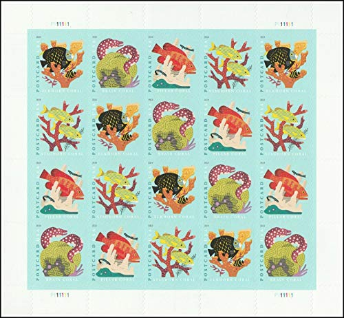 USPS NEW 2019 Coral Reefs Postcard Rate Forever Sheet of 20 Stamps