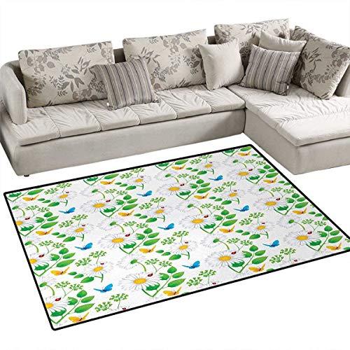 Ladybugs,Carpet,Macro Chamomiles and Ladybugs Illustration Playful Magic Spirits of The Nature,Area Silky Smooth Rugs,White Green,48