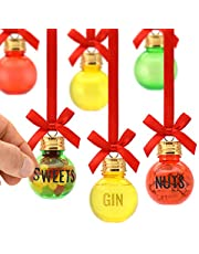 Eat, Drink and be Merry Christmas Xmas Baubles Set of 6 50ml Includes LETTER STICKERS To Personalise Fill Your Own Gift Set To Decorate With Sweets Nuts Booze Gin Vodka Whisky Rum Fillable Decorations