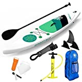 GREAT SUP Inflatable 12'7'' Explorer Stand Up Paddle Board (6'' Thick) with Adjustable Paddle/Travel backpack/Air Pump/Leash| Supports up to 380 Lbs.| Racing/Surfing/Adventure/Recreation