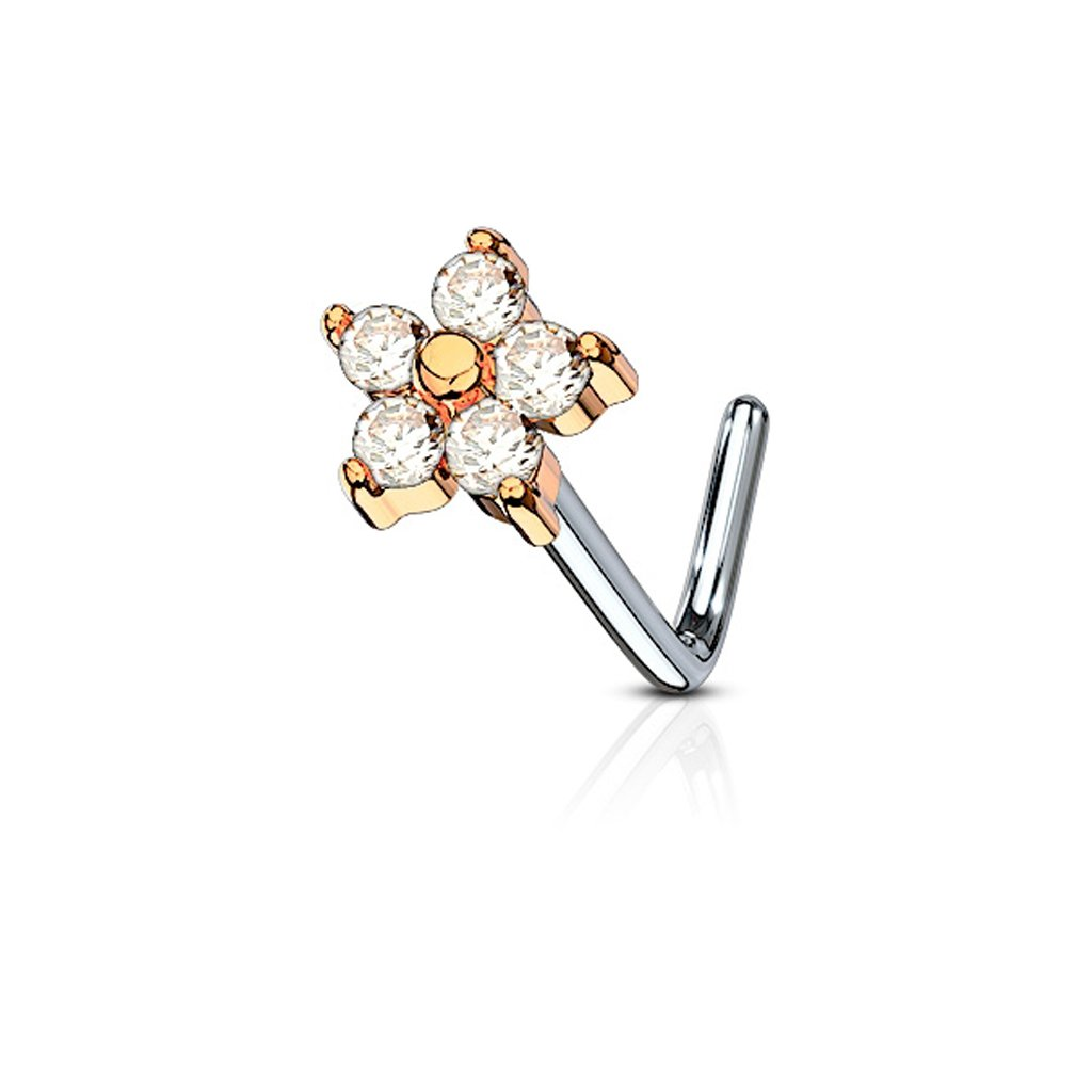 20G Cubic Zirconia Flower 316L Surgical Steel L Bend Nose Stud Ring - Choose Color (Rose Gold)