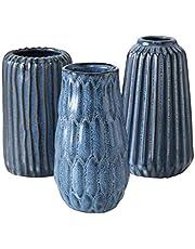 CasaJame 3 decoratieve structuur vazen gesorteerd H 15 cm D 9,5 cm blauw porselein