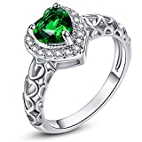 Psiroy 925 Sterling Silver Delicate Heart Emerald Quartz May Birthstone Promise Filled Ring for Women