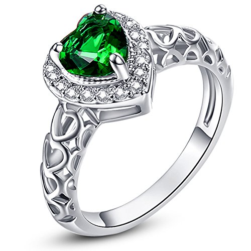 Psiroy 925 Sterling Silver Created Emerald Quartz Filled Halo Heart Promise (Date Quartz Ring)
