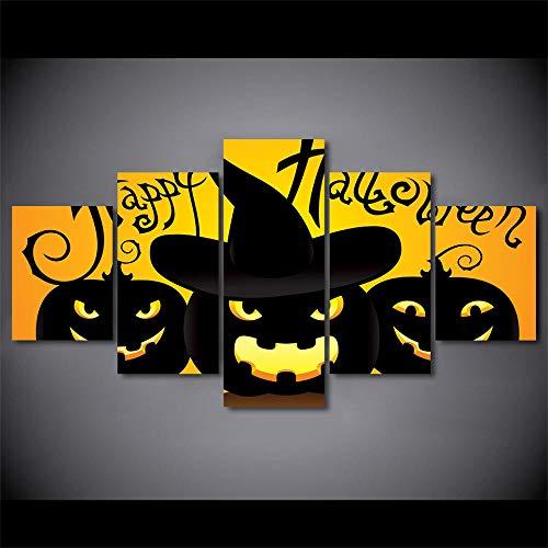 Halloween Et Citrouille (woplmh Salon modulaire Photos peinture Toile imprimée HD -5 panneau lanterne citrouille Halloween Art Mural -40x60cmx2 40x80cmx2 40x100cmx1 / pas de)