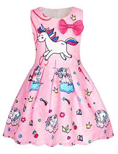 Cotrio Rainbow Unicorn Birthday Girls Outfits Sleeveless Dress Theme Party Fancy Dresses Toddler Kids Stars Bow-Knot Pleated Skirt Size 6 (5-6 Years, Pink, 120)]()