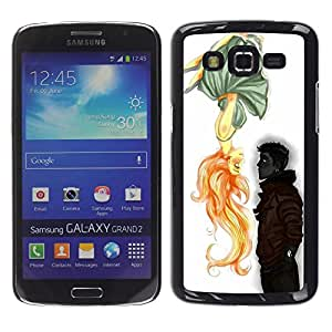 Caucho caso de Shell duro de la cubierta de accesorios de protección BY RAYDREAMMM - Samsung Galaxy Grand 2 SM-G7102 SM-G7105 - Boy Cute Valentines Drawing Love