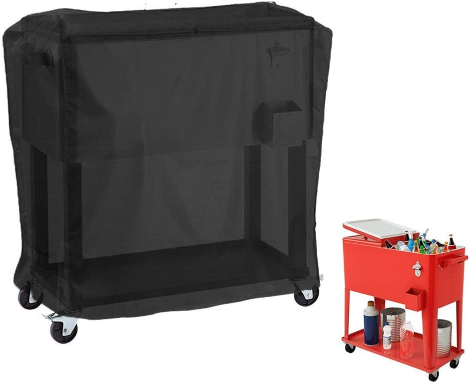 GEZICHTA Cooler Cart Cover Black Waterproof Outdoor Patio Cooler Cover Protection for Beverage Cart Rolling Ice Chest