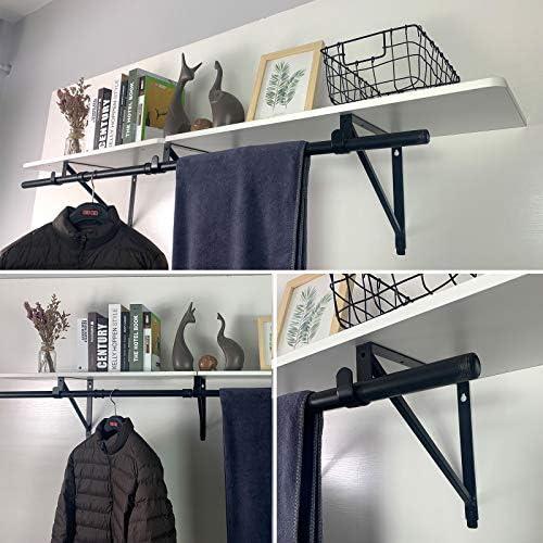 color negro Soporte de pared para barra de ropa y toallas BTSKY tama/ño largo
