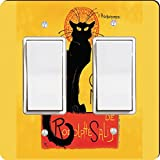 Rikki Knight Le Chat Noir Design Double Rocker Light Switch Plate
