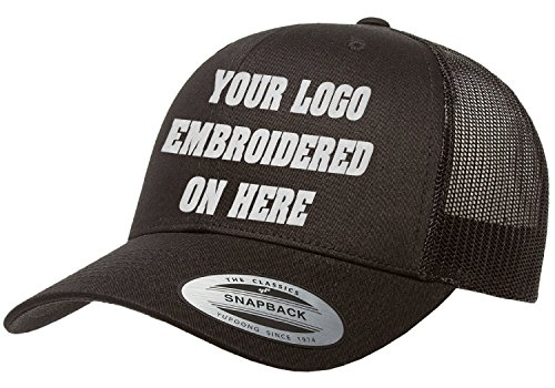 Custom Trucker Hat. Yupoong. Embroidered. Your Own Logo Curved Bill Snapback. (Black)