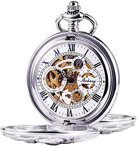 TREEWETO 機械式 懐中時計 アンティーク 幸運のドラゴン スケルトン ローマ数字 シルバー ダブルハンター チェーン付き