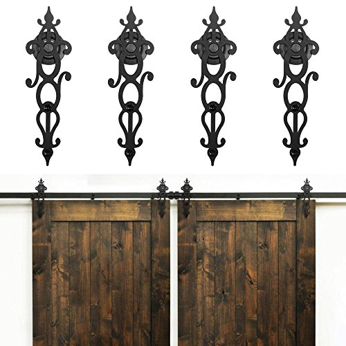 tyle Rustic Double Barn Wood Interior Sliding Door Hardware Kit Retro Roller Track Cabinet Closet Kit (7.5FT) ()
