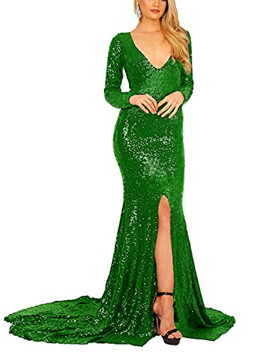 - CIRCLEWLD Evening Dresses Long Sleeves Split Front Slit Sequin Mermaid Gown Women Formal Emerald Size 10