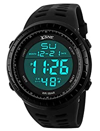 Men's Digital Sport Watch,Big Face Waterproof Electronic LED Wristwatch Black SK1167