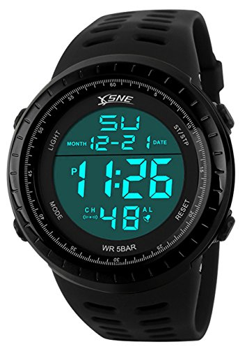 Digital Sports Watch Water Resistant Outdoor Easy Read Military Back Light Black Big Face Men's (Black) (Black)