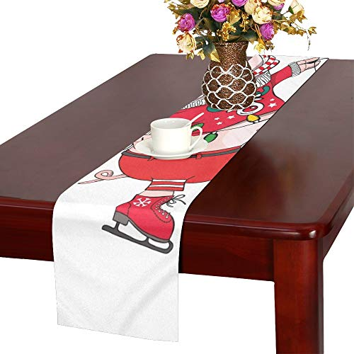WUTMVING Cute Pig Skating She Red Cardigan Table Runner, Kitchen Dining Table Runner 16 X 72 Inch for Dinner Parties, Events, Decor