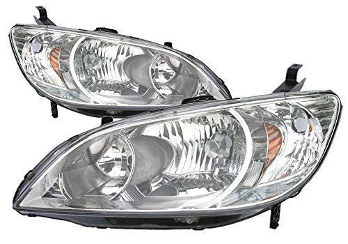 For 2004 2005 Honda Civic Coupe/Sedan/Hybrid Headlight Headlamp Assembly Driver Left and Passenger Right Side Pair Set Replacement HO2502121 HO2503121