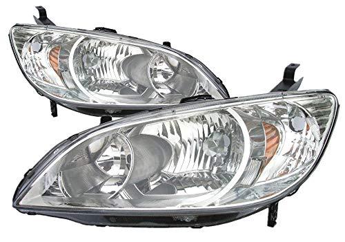 For 2004 2005 Honda Civic Coupe/Sedan/Hybrid Headlight Headlamp Pair Set Replacement