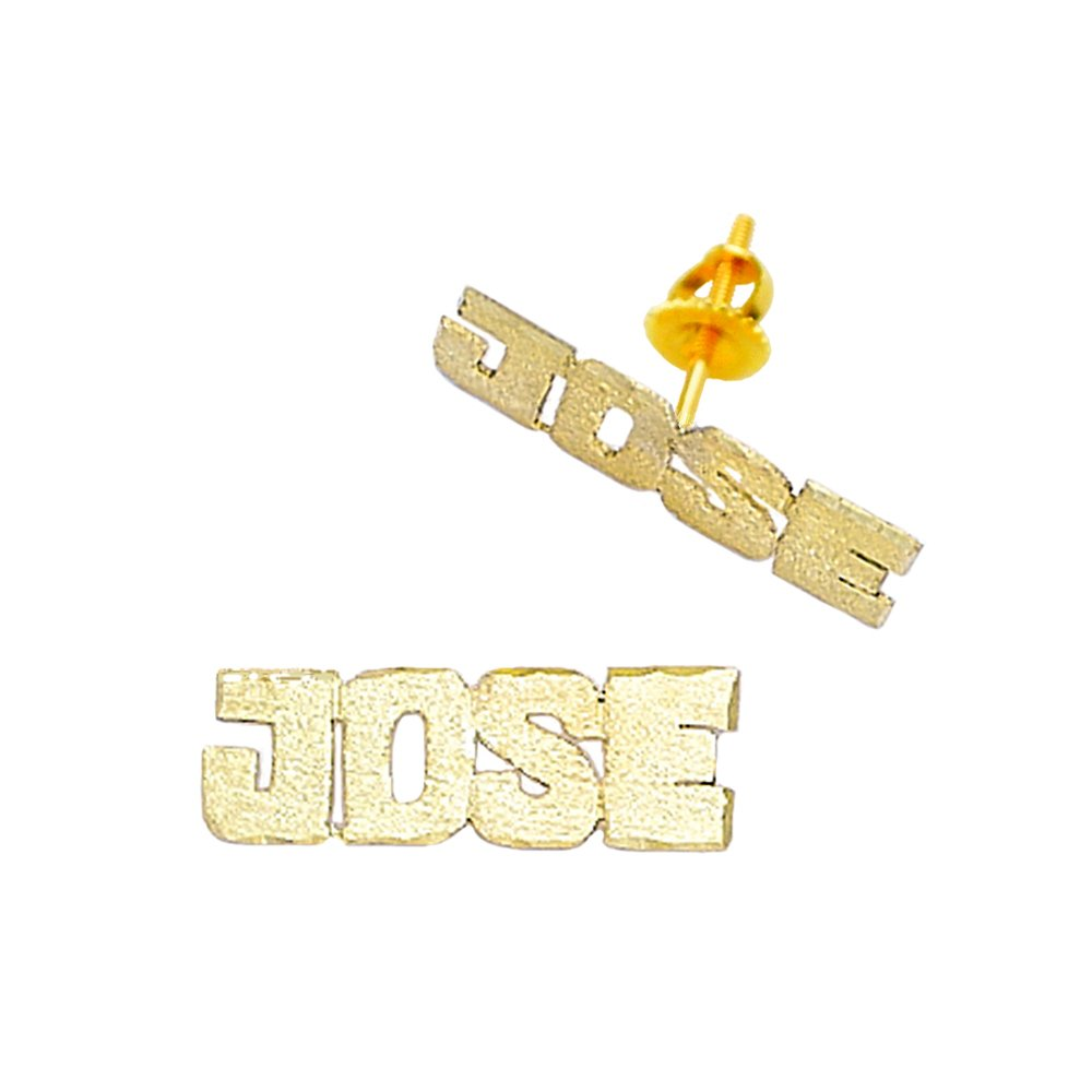 10K-Lee806A 10K Yellow Gold 3/4'' Long Block Letter Pave-Cut Single Plate Screw Back Name Earrings