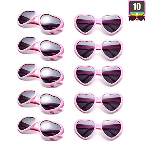 10 Packs Neon Colors Wholesale Heart Sunglasses (Pink)