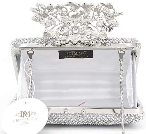 with Wedding Clutch Crystal Rhinestone clasp Flower Womens Silver Bag Handbag Purse Evening Dexmay CvfqtW