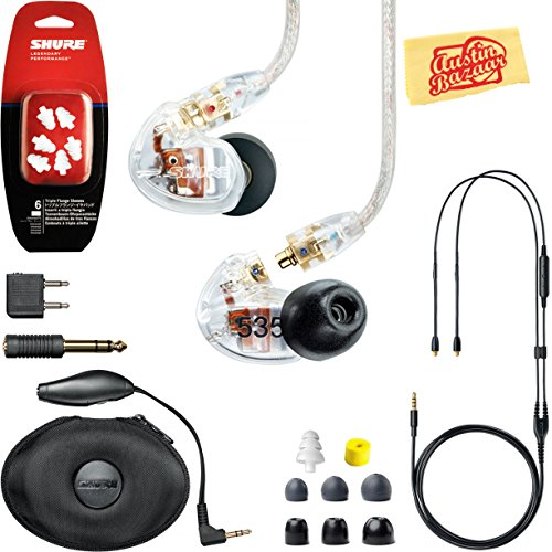Shure SE535 Sound Isolating Earphones - Clear Bundle with Remote Cable, Triple Flange Sleeves, Sleeve Fit Kit, Carrying Case, Polishing Cloth
