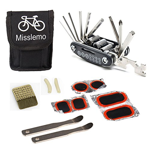 Bike Repair Tool, Misslemo 16 in 1 Multi-Function Bicycle Mechanic Repair & Maintenance Tool Kit with Portable and Compact Screwdriver Nut Driver Patch Kit, Tire Levers Bicycle Fixie Cycling Repair Tools for Any Emergency During your Cycling (Fixie Nuts)