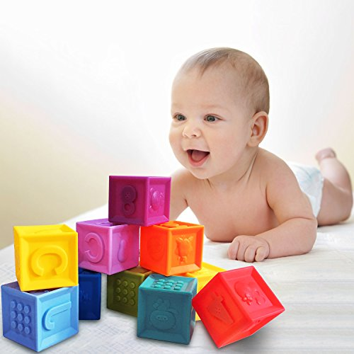 arVin Soft Block, Baby BPA Teething Educational Bath Toys for Kids, Food Grade, Squeeze Blocks for Toddlers with Sound Numbers Letters & Images (Set of 10, Cube size: 1.6 in) by arVin