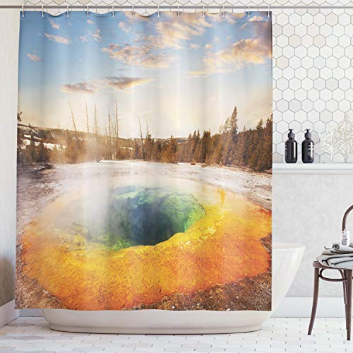 Ambesonne Yellowstone Decor Shower Curtain Set, Morning Glory Pool in Yellowstone National Park Winter Scene Landmark Themed Image, Bathroom Accessories, 84 Inches Extralong, Orange Brown (Glory Morning Pool)