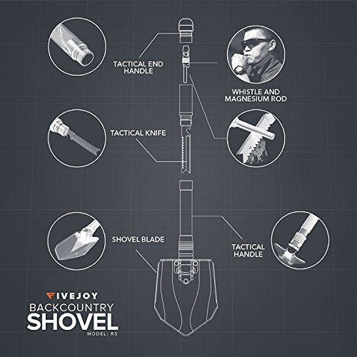 FiveJoy Military Folding Shovel Multitool (RS) Compact Multi Purpose Tool for Tasks around Camp or to Keep in Vehicle for Emergency Essential for Every Camper, RV Owner, Survivalist and Prepper