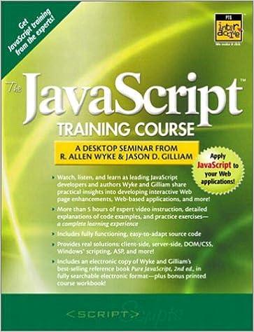 A Desktop Seminar From Allen Wyke and Jason D The Javascript Training Course Gilliam