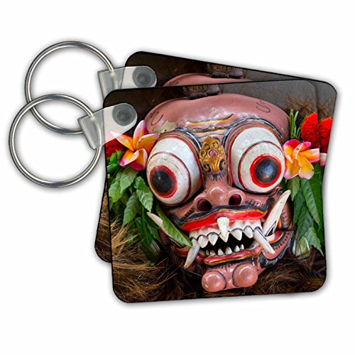 [Danita Delimont - Masks - Indonesia, Bali. Barong ceremonial performance mask decorated, - Key Chains - set of 2 Key Chains] (Demonic Masks)