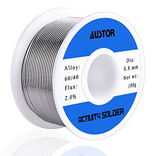 AUSTOR 60-40 Tin Lead Rosin Core Solder Wire for Electrical Soldering (100g, 0.8mm) ()