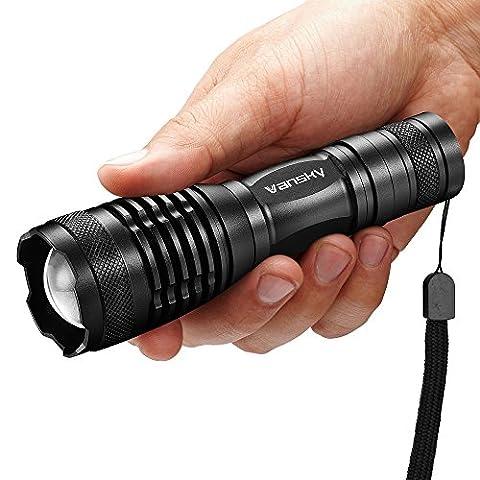 Tactical Flashlight, Vansky 700 Lumen Cree XML2 T6 Led Flashlight Adjustable Focus Zoom Tactical Light Water Resistant Camping Torch, 3 x AAA Batteries - Ar 15 Tactical Flashlights