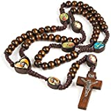 2 X pieces Unique Wooden Beads Rosary Catholic Necklace Holy Soil Medal & Cross (Brown)