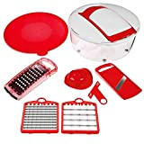 Nicer Dicer Salad Chopper by Genius | 7 pieces | Fruit and vegetable slicer | As seen on TV … (red)