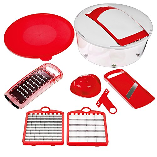Nicer Dicer Salad Chopper by Genius | 7 pieces | Fruit and vegetable slicer | As seen on TV  (red)