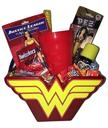 Wonder Woman Superhero Easter Basket Gift Bundle Pack in keepsake basket action figures candy pez cup bubble wand ~FAST SHIPPING USA SELLER~ by Blue Topaz Boutique