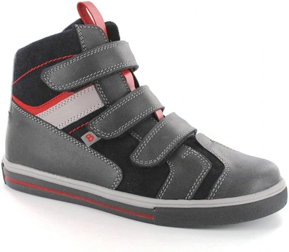 Bartek Boys Leather Shoes Insulated Ankle Boots for Fall//Winter 54106//14R Charcoal Red Little Kid//Big Kid