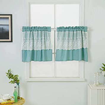 WUBODTI Blackout Valance Curtains Modern Textured Window Treatments Tiers  Cafe Curtains and Drapes with Lace Flower for Small Kitchen Windows, 29\'\'W  x ...