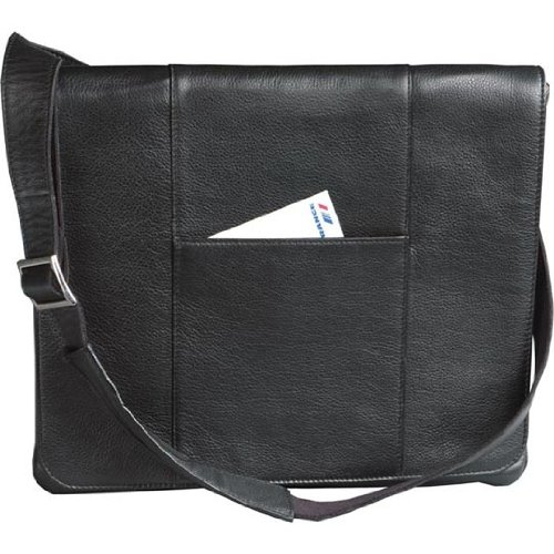Winn Harness Leather Slim Messenger Bag, Black (Leather Winn Harness)