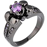 99 cent free shipping - AYT Purple Sapphire Black Skull Jewelry Women/Men Amethyst Ring Anel Aneis Black Gold Filled Zircon Rings for Halloween Party 8.0