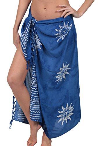 INGEAR Long Batik Women's Sarong Swimsuit Wrap Bikini Cover Up Pareo (Blue Sun)