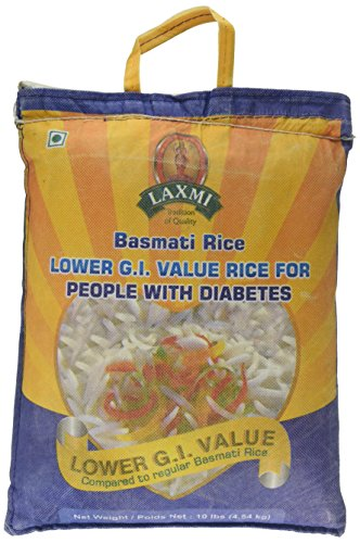 Laxmi Diabetic Friendly Basmati Rice with Lower G.I. Index Value, 10 Pounds (Best Quality Rice In Pakistan)