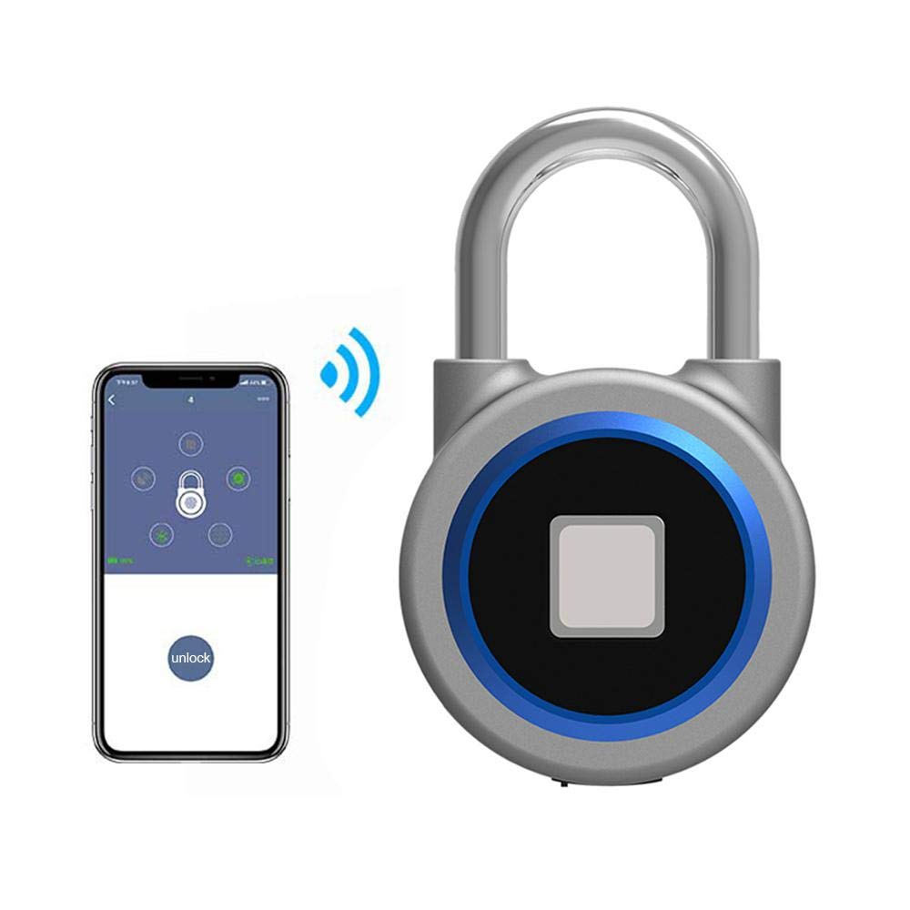 LAYOPO Fingerprint Padlock, Anti-Theft Bluetooth Padlock USB Charging Smart Keyless Lock Waterproof iOS/Android APP Button Control Lock for House Door, Suitcase, Backpack, Gym, Bike, Office