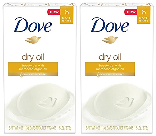 Dove Beauty Bath Bar, Dry Oil, 4 Ounce, 6 Bar (Pack of 2) 12 Bars Total ()
