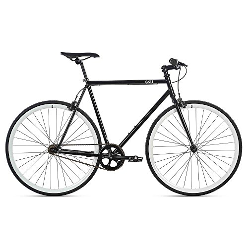White Fixed Gear - 6KU Shelby 2 Fixed Gear Bicycle, Black/White, 58cm